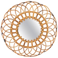Spanish 1960s Handcrafted Rattan and Wicker Flower Shaped Wall Mirror