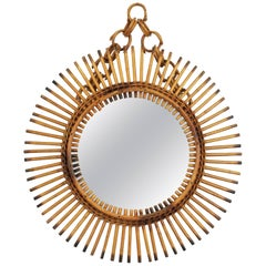 Rare Italian Riviera Rattan and Bamboo Chained Sunburst Mirror, Italy, 1950s