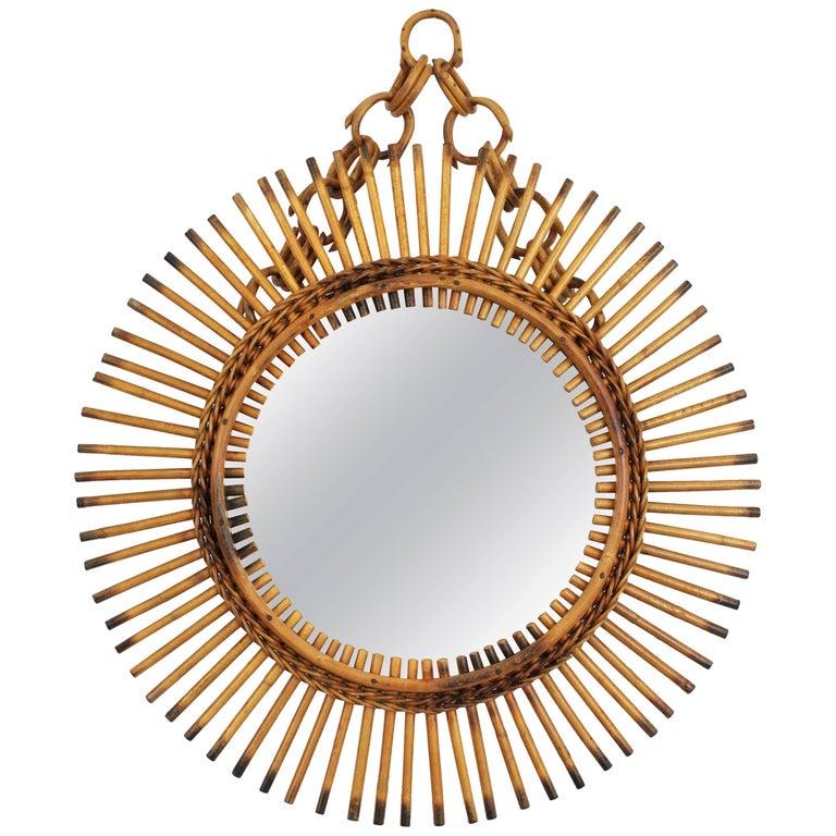 Rare Italian Riviera Rattan and Bamboo Chained Sunburst Mirror, Italy, 1950s