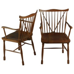1940s Ole Wanscher Set of Two Windsor Chairs in Beech and Elm by Fritz Hansen