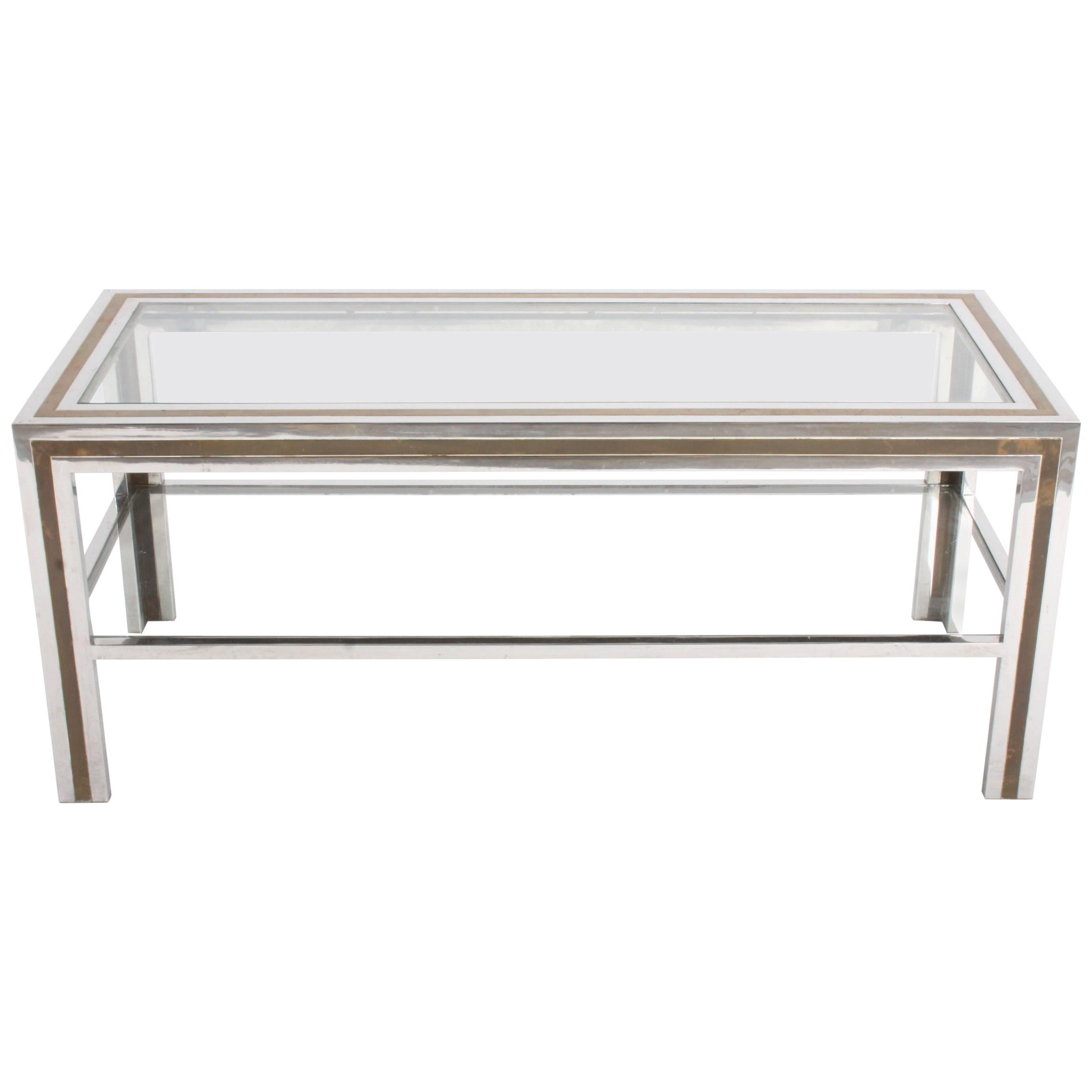Romeo Rega Hollywood Regency Style 1970s Chrome and Brass Coffee Table
