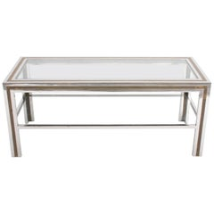 Romeo Rega Style 1970s Chrome and Brass Coffee Table