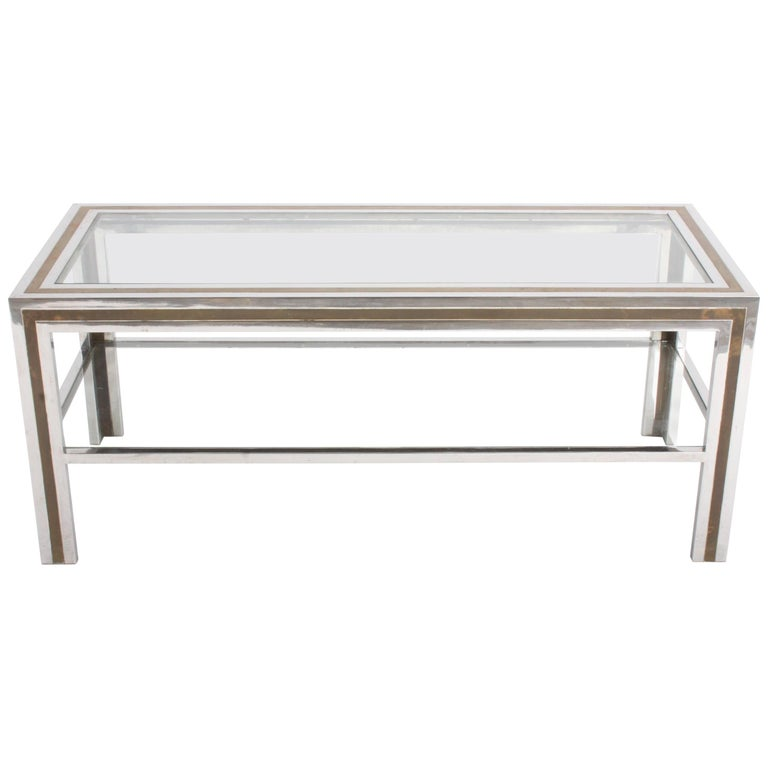 Romeo Rega Hollywood Regency Style 1970s Chrome and Brass Coffee Table For Sale