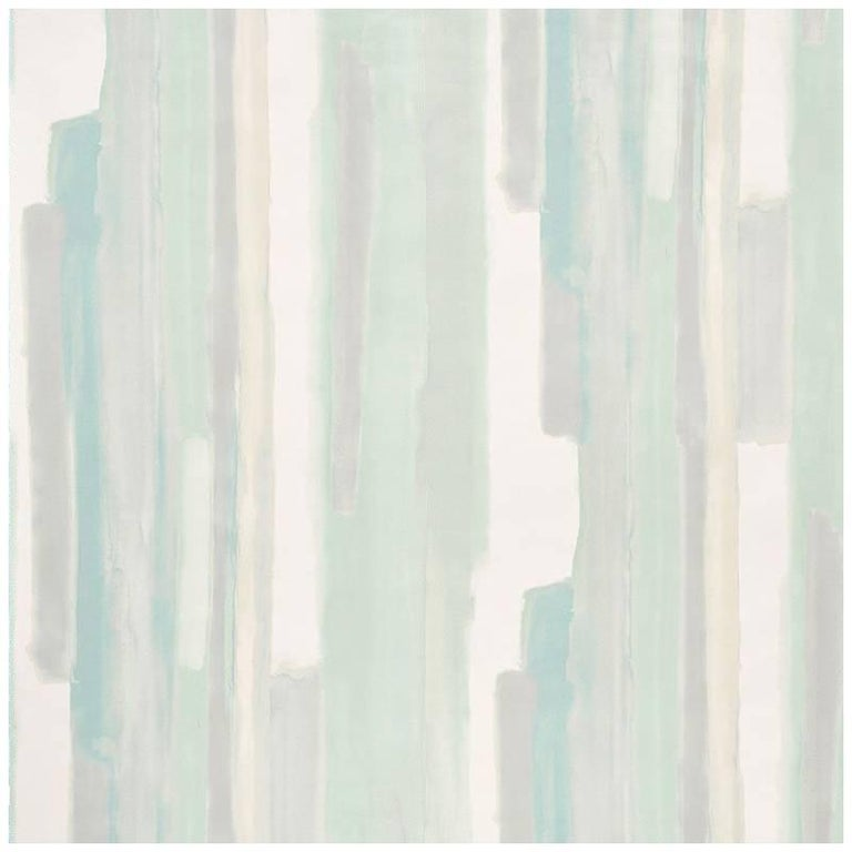 Schumacher Miles Redd Watercolor Celadon Green Wallpaper For Sale