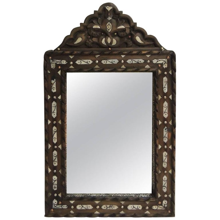 Vintage Hand-Carved Moroccan Mirror with Camel Bone Inlaid