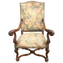 19th Century Louis XIII Style  Throne Armchair