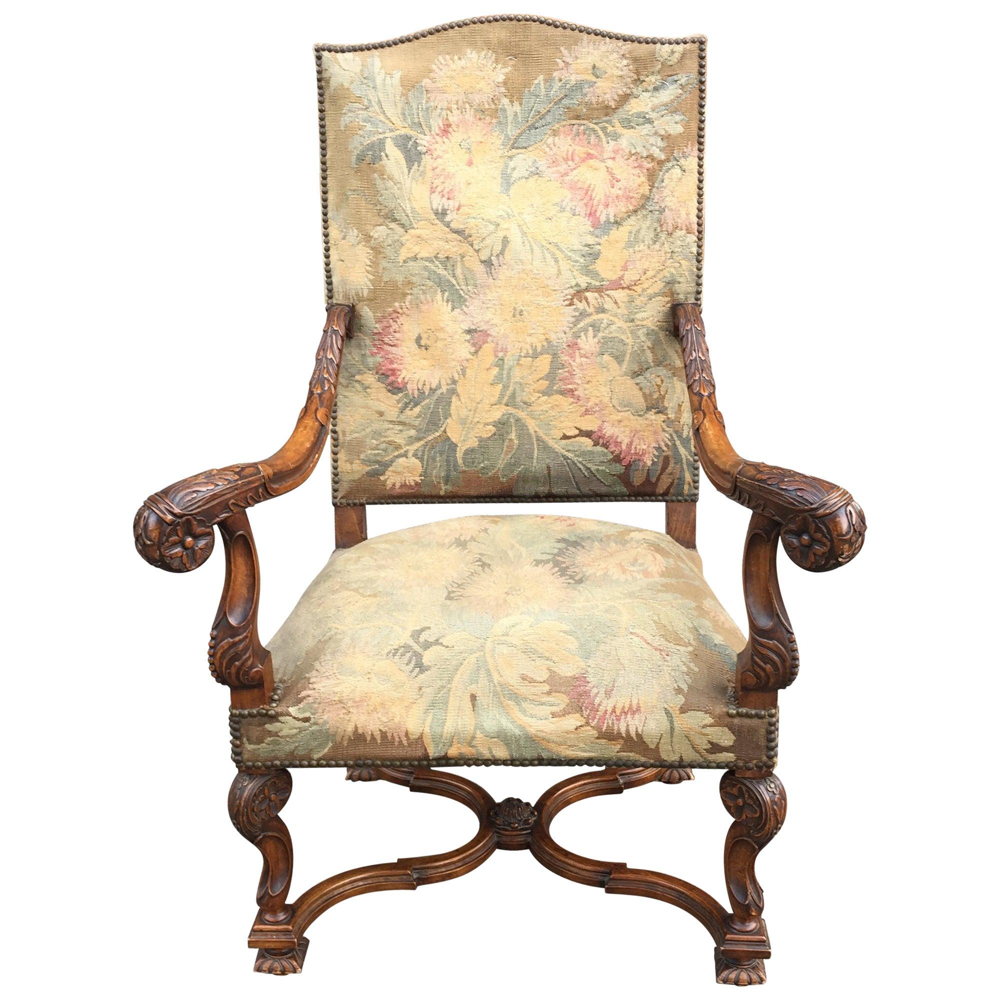 19th Century Louis XIII Style  Throne Armchair