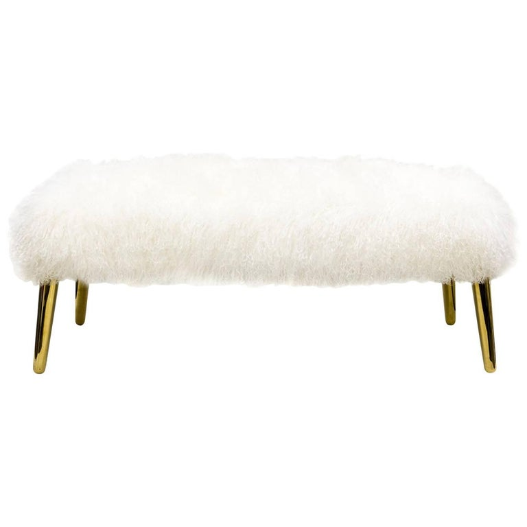 White Mongolian Bench with Brass Leg