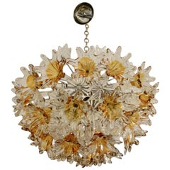 Midcentury Venini Esprit Chandelier with Amber and Clear Murano Flowers