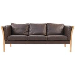 Danish Midcentury Beech and Leather Sofa