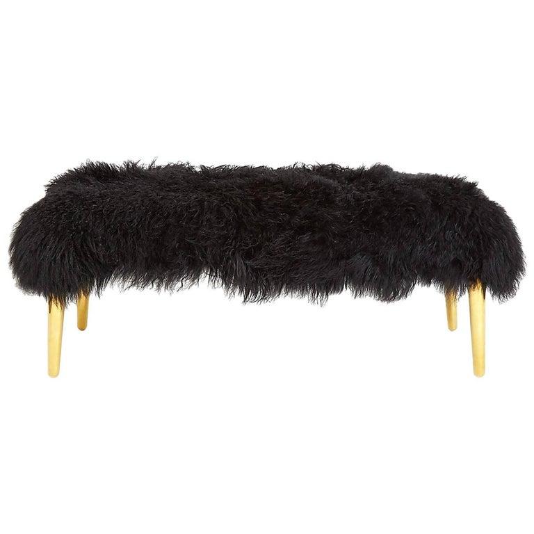 Black Mongolian Bench with Brass Leg
