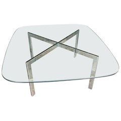 Milo Baughman Chrome and Glass Cocktail Table