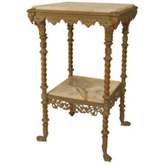 American Victorian Brass End Table with Onyx Top and Shelf