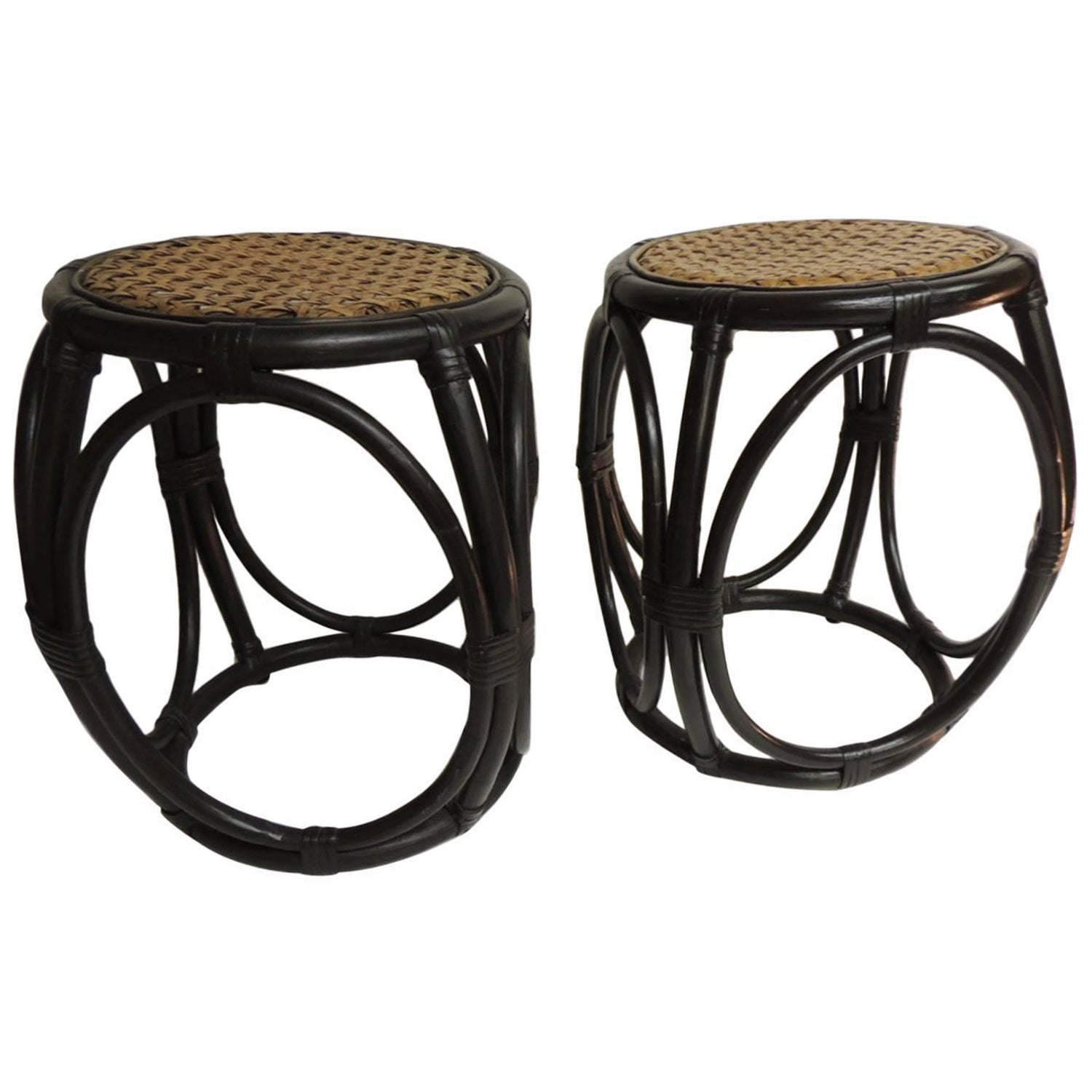 Holiday sale pair of vintage bentwood thonet style stools with wicker seats at 1stdibs