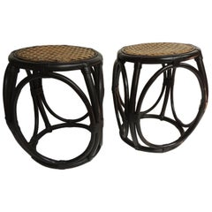 Pair of Vintage Painted Bentwood Thonet Style Tabourets with Wicker Woven Seats
