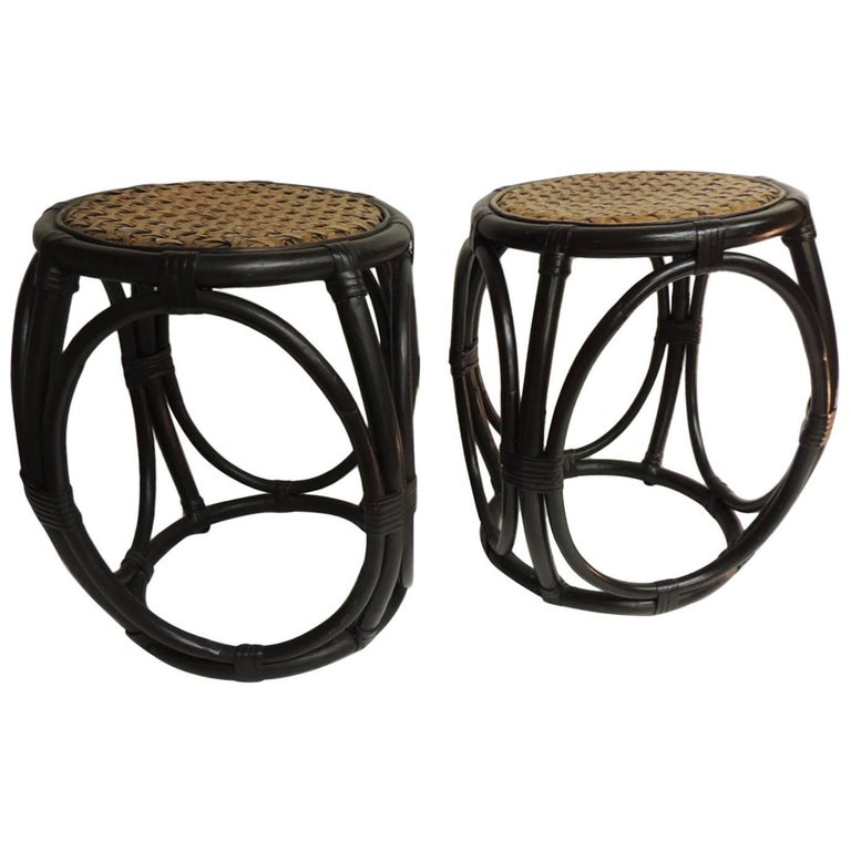 CLOSE OUT SALE: Pair of Vintage Bentwood Thonet Style Stools with Wicker Seats