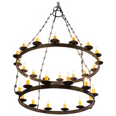 Massive Hand-Forged Iron Double Ring Chandelier with 28 Sockets