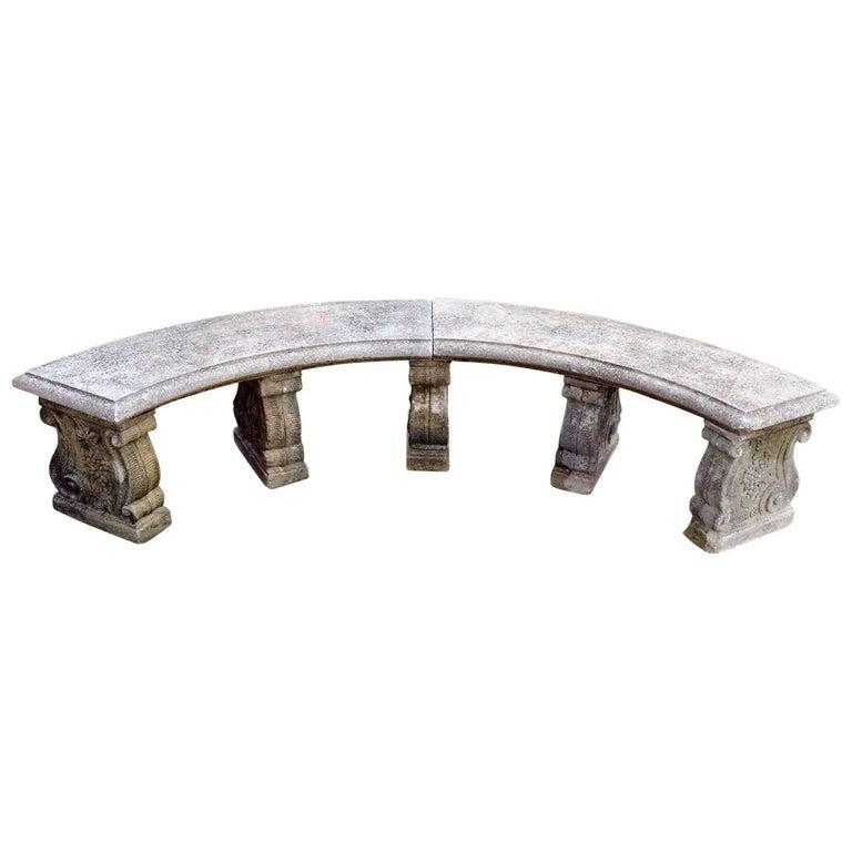 Semi-Circular Stone Bench For Sale