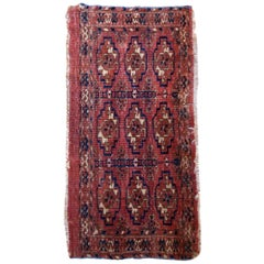 Handmade Antique Turkmen Tekke Torba Rug, 1860s