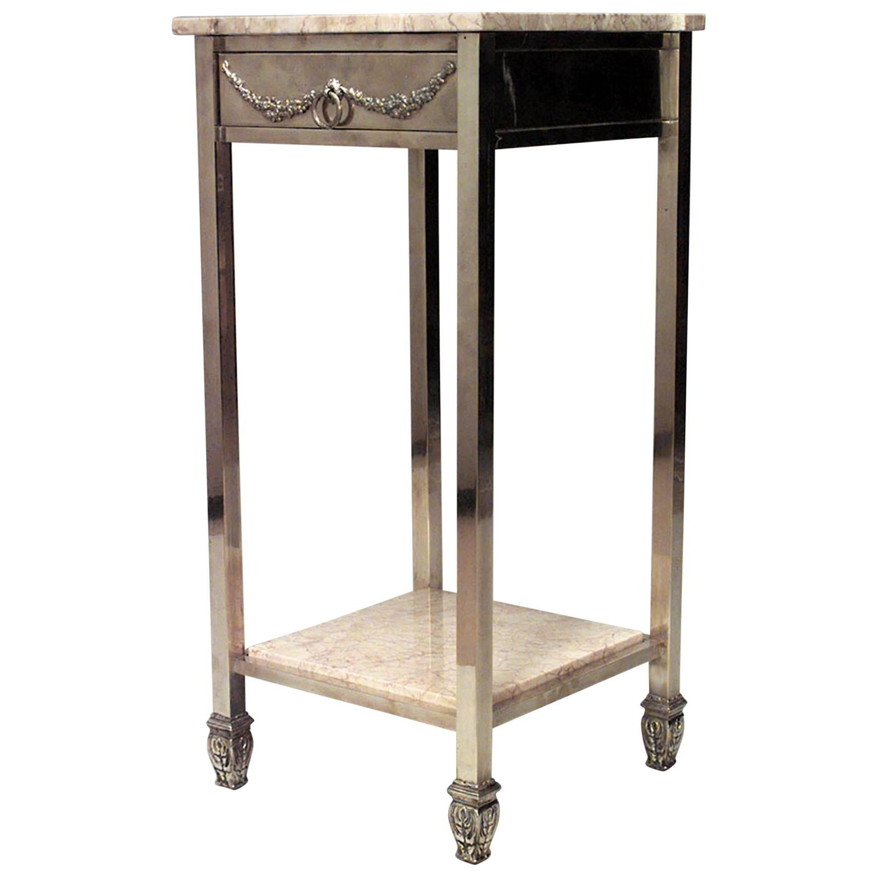 Victorian End Table American Victorian Brass Square End Table For Sale at 1stdibs