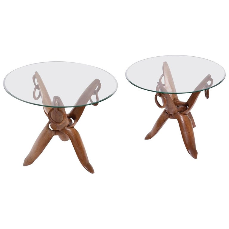 Africanist Pair of Carved Side Tables in Wood and Glass, France Mid-20th Century