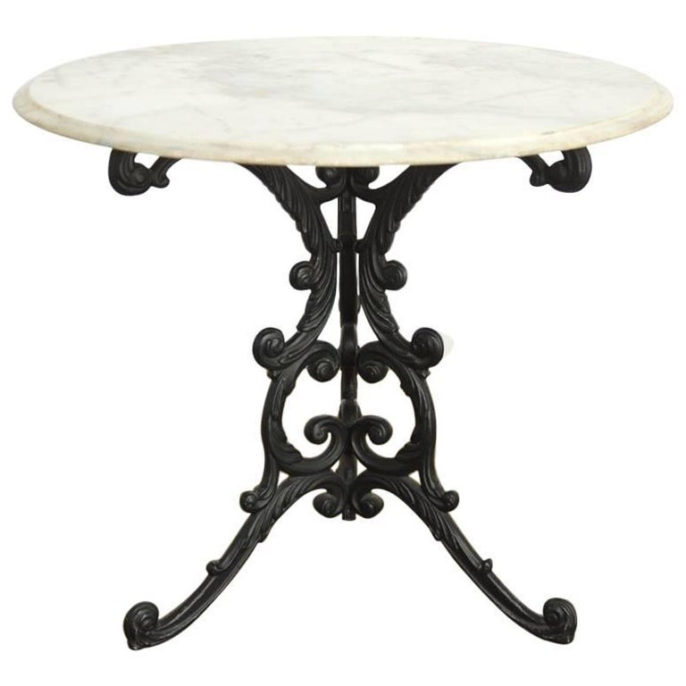 French Art Nouveau Style Iron Marble Bistro Table