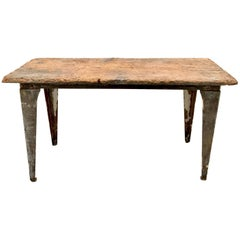 Industrial Workbench / Studio Table with 19th Century Pine Top