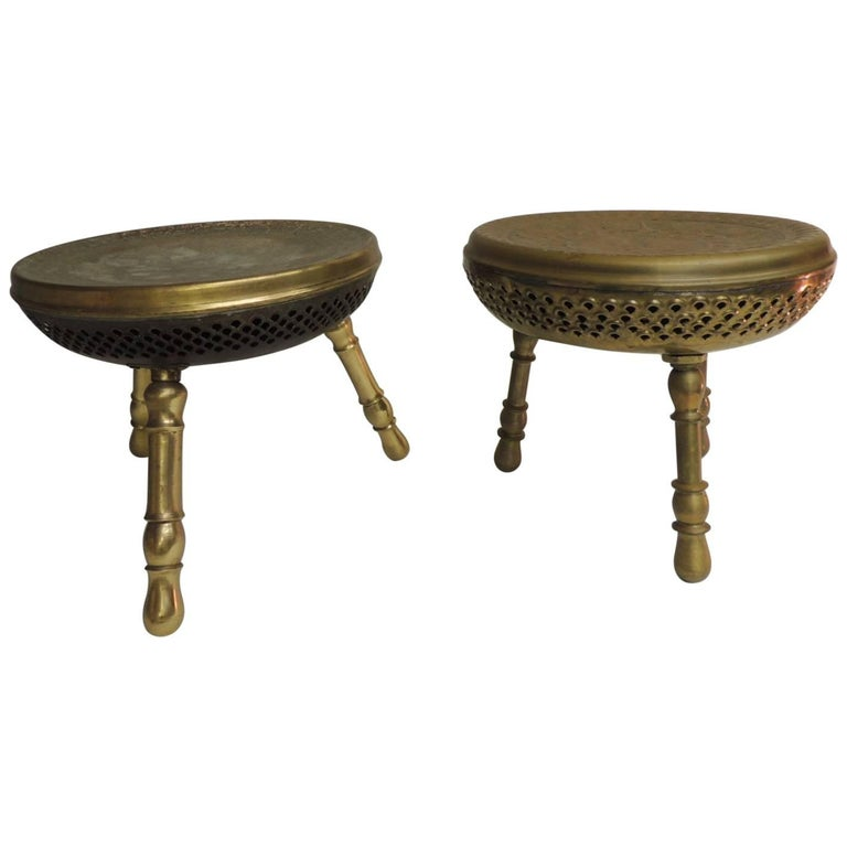 Pair of Vintage Low Round Tripod Indian Low Stools or Tables