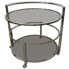 Round Mid-Century Two-Tier Expandable Chrome & Smoke Glass Side or Coffee Table