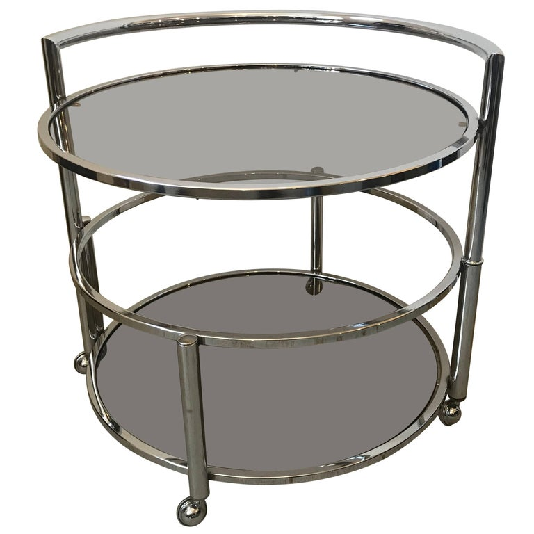Round Mid-Century Two-Tier Expandable Chrome & Smoke Glass Side or Coffee Table For Sale