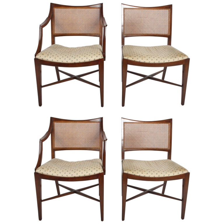Edward Wormley for Dunbar Set of Four Caned Dining Chairs
