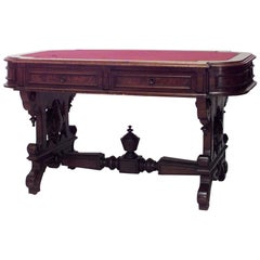 American Victorian Table Desk with Stretcher