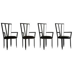 Set of Four Steel Armchairs, France, circa 1970