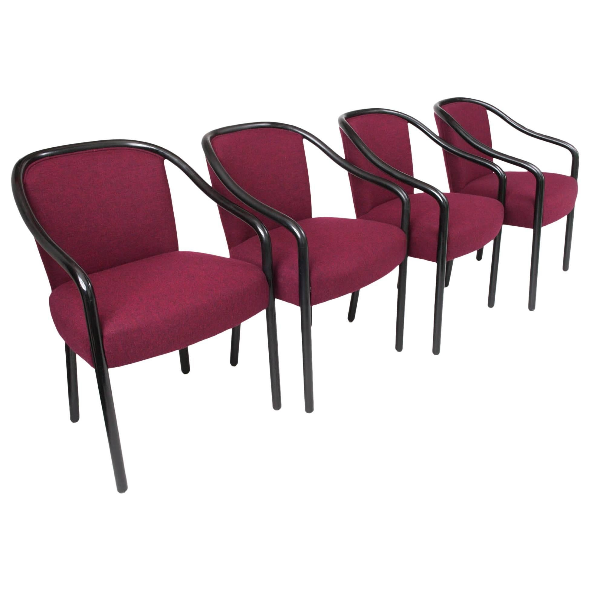 Set of Four Black Lacquered Bentwood Chairs by Ward Bennett, American 1960's