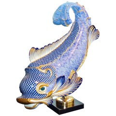 Giulia Mangani for Oggetti Italy Blue & White Gilt Porcelain Dolphin on Stand