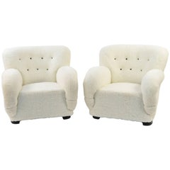 Pair of Danish Easy Chairs Upholstered in Lamb's Wool