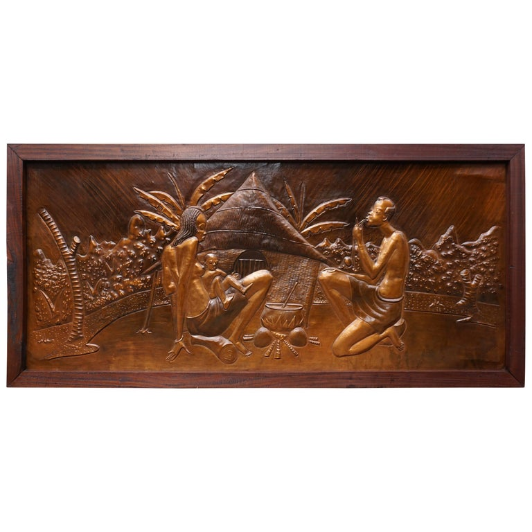 African Hammered Copper Wall Art Relief by Manzomba