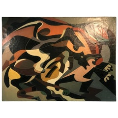 Abstract Horse Race Painting in the Style of Louis Stone