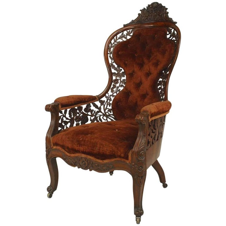 American Victorian Carved Rosewood Bergere Armchair with Filigree For Sale