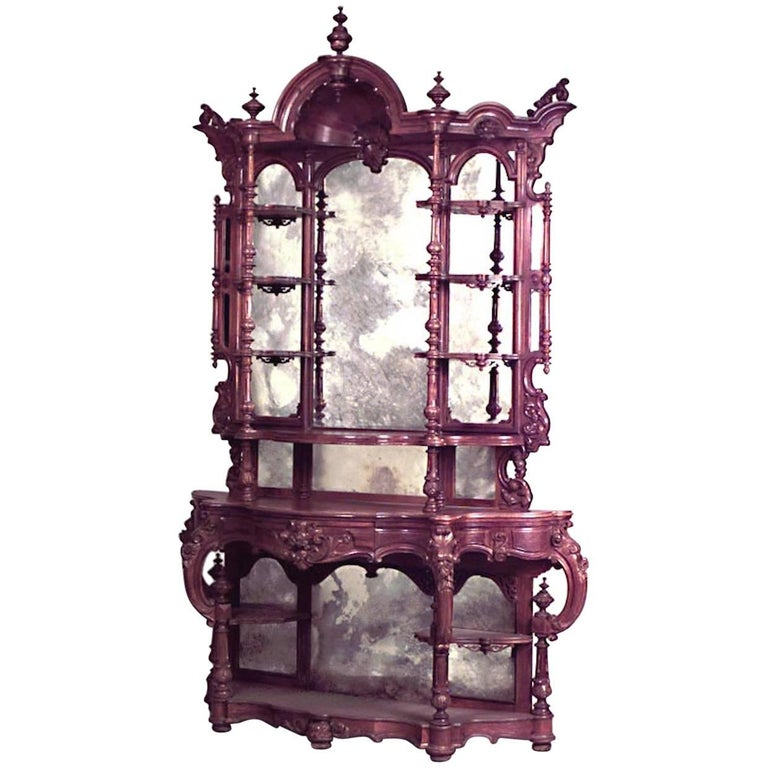 American Victorian Carved Rosewood Étagère
