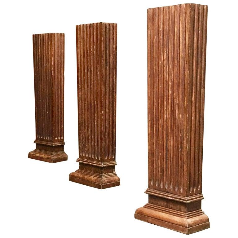 Set of Three Antique Wood Columns