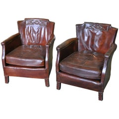French Art Deco Period Club Chairs