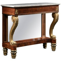 Bronze-Mounted, Carved Giltwood, Rosewood and Mahogany Pier Table