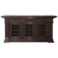 Antique Italian Walnut Renaissance Buffet/Credenza, Bookcase with Wrought Iron