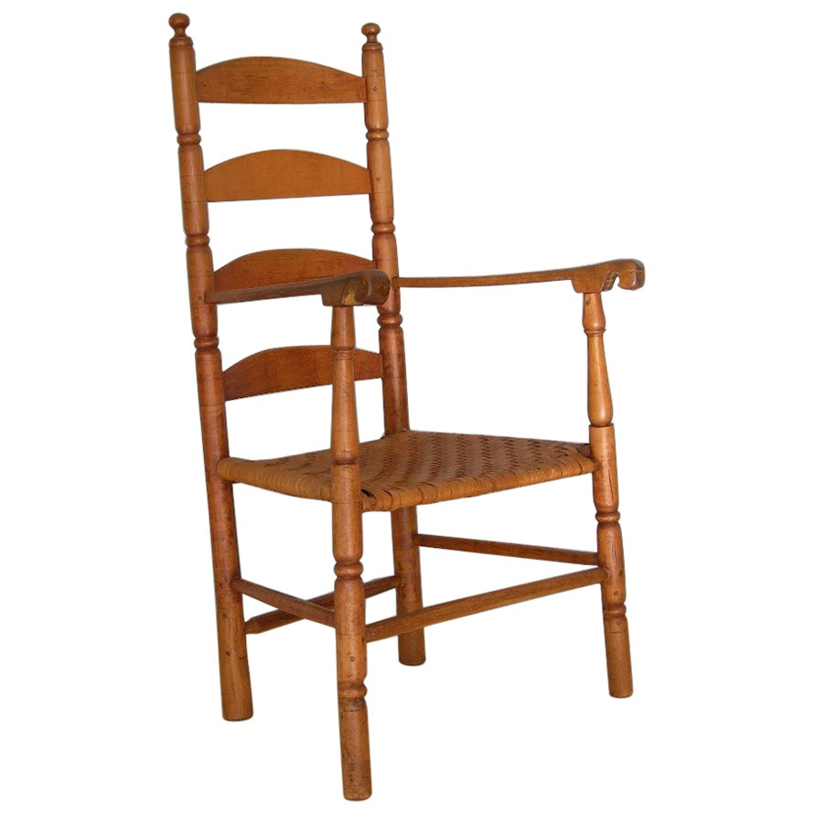 American Shaker Ladder Back Armchair, Early 19th Century