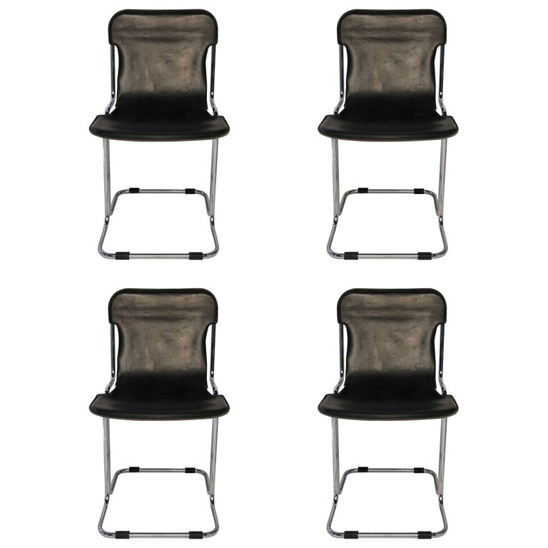 Set of Four Chromed Tubular Metal Chairs with Slung Leather Seats, 1970s