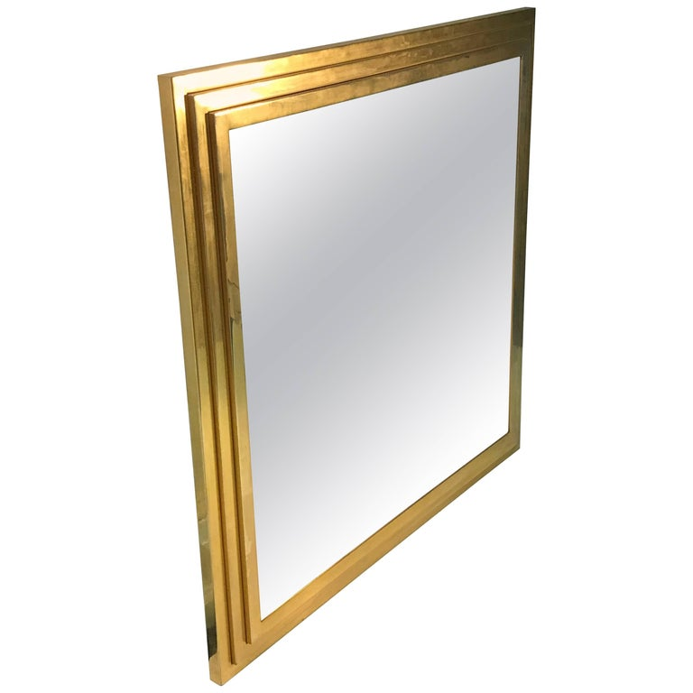Modern Square Gold Tone Framed Metal Mirror