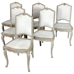 Set of Six Antique French Louis XV Hand-Painted Grey Dining Chairs