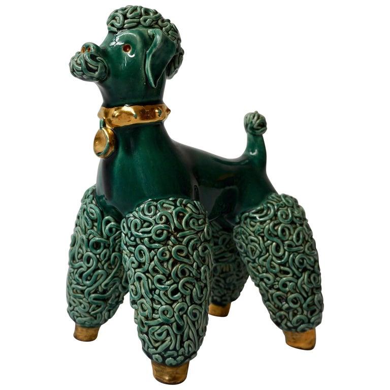 Ceramic Porcelain Spaghetti Poodle Dog Sculpture
