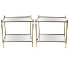 Pair of Brass Tables with Mirror Tops in the Style of Maison Jansen, circa 1950